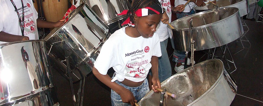 Young steelpan player
